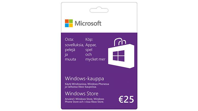 25€ lahjakortti Windows-kauppaan