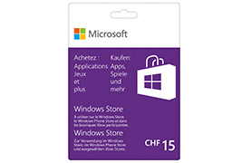 Carte cadeau Windows Store 15 CHF