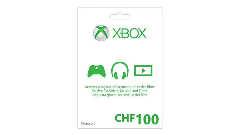 Carte cadeau Xbox LIVE : 100 Francs suisses