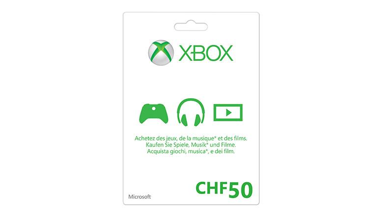 Carte cadeau Xbox LIVE 50 Francs suisses