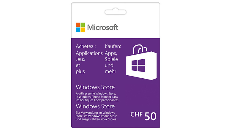 Windows Store 50 CHF Guthabenkarte