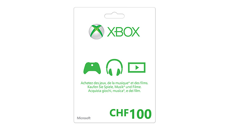 Xbox LIVE Guthabenkarte: CHF100