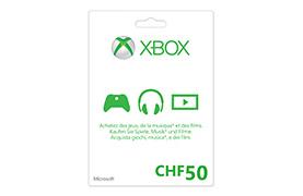 Xbox LIVE Geschenkkarte CHF50