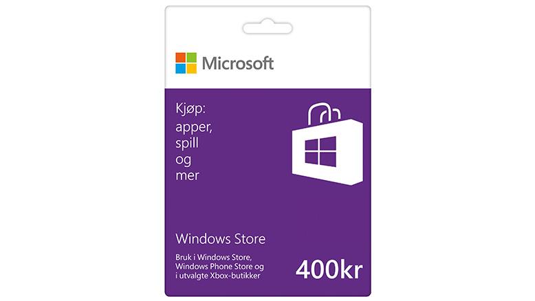 Microsoft Gavekort på 400 kr i Windows Store Windows