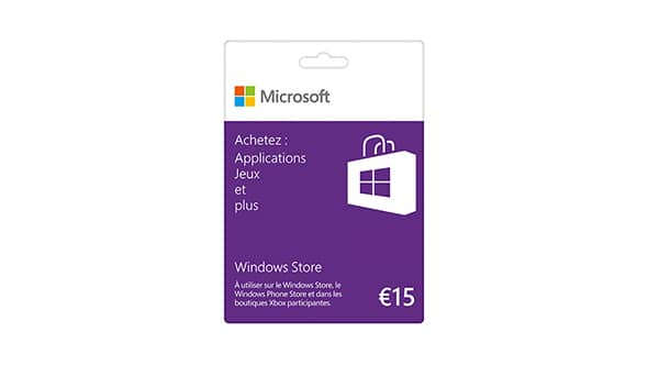 Carte cadeau Windows Store 15€