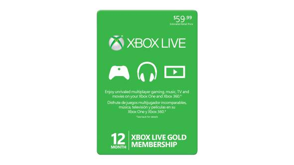 Membresía Xbox Live Gold por 12 meses