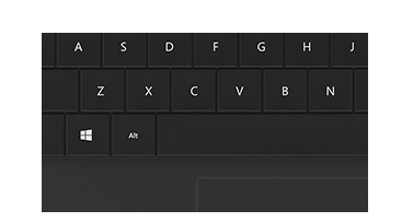 Windows shortcut, function, and media keys, and trackpad: zoomed view of keyboard